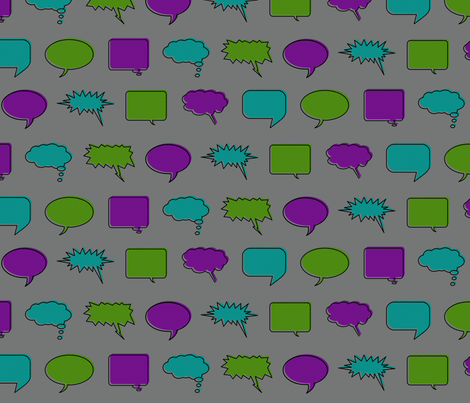 Comic Speech Bubbles (Villain colorway) fabric by leighr on Spoonflower - custom fabric