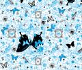Natural Graffiti Print in Turquoise by Ellen Medlock Studio