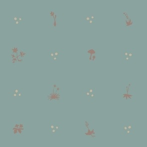 Miniature Woodland Herbarium - duck egg blue
