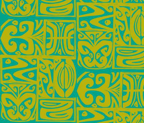 Abstarctiva 2, honolulu market, turquoise, moss fabric by sophista-tiki on Spoonflower - custom fabric
