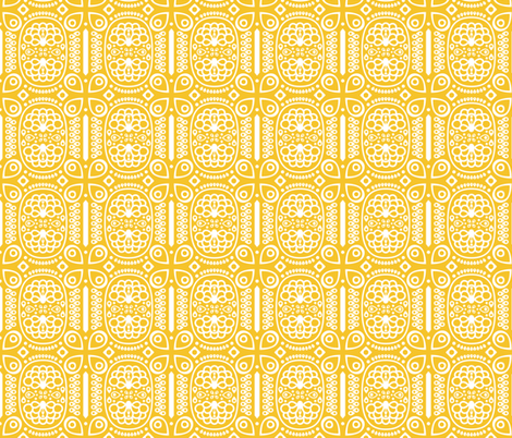 Tribal Peacock - in Sunny Yellow fabric by katphillipsdesigns on Spoonflower - custom fabric