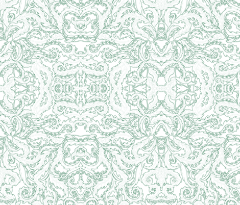 rococo leaves - blue outlines fabric by uzumakijo on Spoonflower - custom fabric
