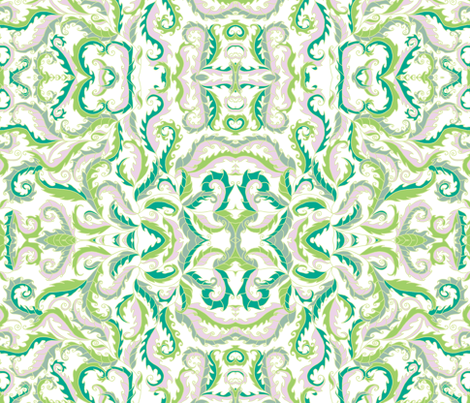 rococo leaves on white fabric by uzumakijo on Spoonflower - custom fabric