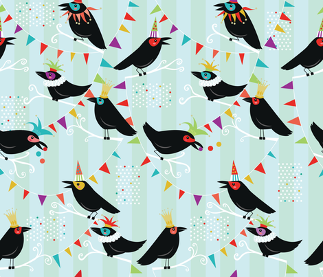 Crows Clowning Around fabric by cynthiafrenette on Spoonflower - custom fabric