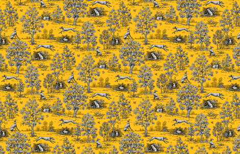 Gold and Black Greyhound Toile ©2011 by Jane Walker fabric by artbyjanewalker on Spoonflower - custom fabric