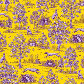 Yellow and Purple Greyhound Toile 2011 by Jane Walker
