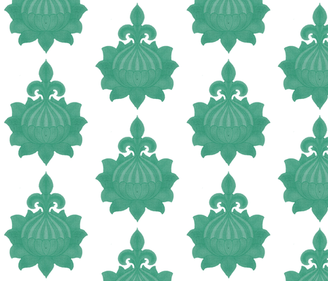 Green damask fabric by myracle on Spoonflower - custom fabric