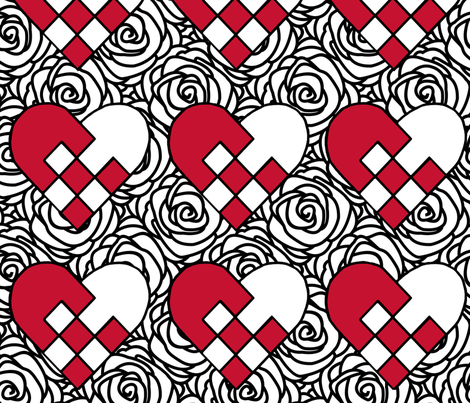 Hearts and flowers fabric by alicestrange on Spoonflower - custom fabric