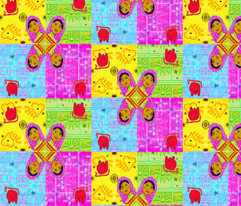Frida 2 Hearts fabric by kkitwana on Spoonflower - custom fabric