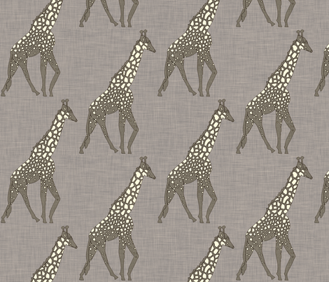 giraffe_safari_linen fabric by holli_zollinger on Spoonflower - custom fabric