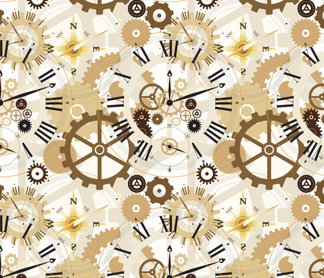 Steampunk Clockwork fabric by lainabug on Spoonflower - custom fabric