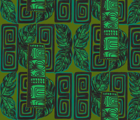 Bora Bora intercontinenta l,staff j,ungle glow fabric by sophista-tiki on Spoonflower - custom fabric