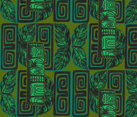Bora Bora intercontinenta l,staff j,ungle glow fabric by sophista-tiki on Spoonflower - custom fabric