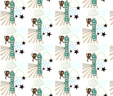 Bigfoot in P-town fabric by malien00 on Spoonflower - custom fabric