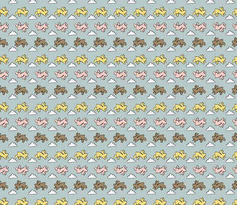 neopolitan_bunnies fabric by cherryandcinnamon on Spoonflower - custom fabric