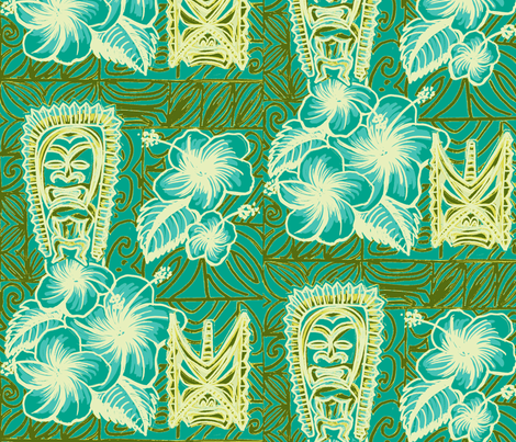 Old School,  Hilo, Ku, Blue fabric by sophista-tiki on Spoonflower - custom fabric