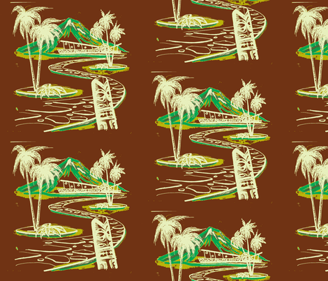 Easy Living, Moana Loa  Modern, white on brown fabric by sophista-tiki on Spoonflower - custom fabric