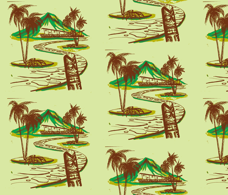 Easy Living, Moana Loa Modern, cream and brown fabric by sophista-tiki_by_dawn_frasier on Spoonflower - custom fabric