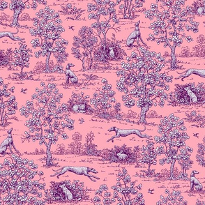 Pink and Purple Greyhound Toile 2011 by Jane Walker