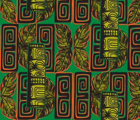 Bora Bora Intercontinental,  staff,jungle firelight fabric by sophista-tiki on Spoonflower - custom fabric