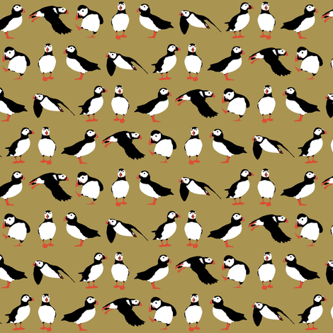 just puffins brown small fabric by scrummy on Spoonflower - custom fabric