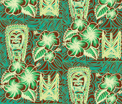 OldSchool, Hibiscus and Ku, frosted mint coco fabric by sophista-tiki on Spoonflower - custom fabric