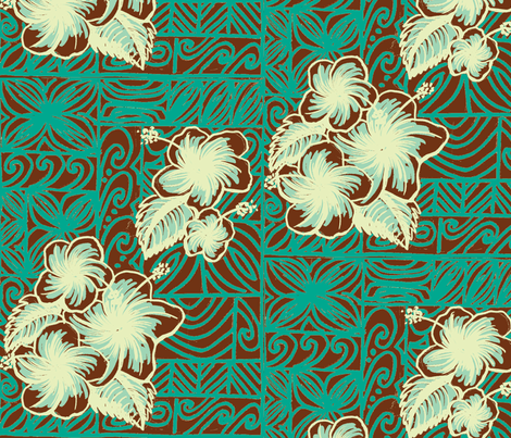 Old School hibiscus, frosted coco fabric by sophista-tiki on Spoonflower - custom fabric