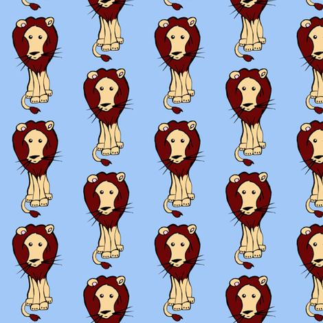 Lion_on_Blue fabric by pond_ripple on Spoonflower - custom fabric