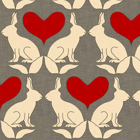 rabbit_and_heart_linen fabric by holli_zollinger on Spoonflower - custom fabric