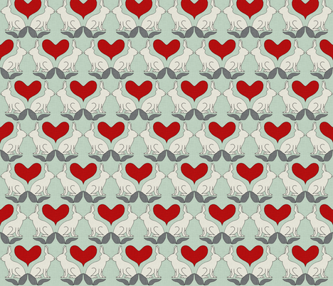 rabbit_hearts seafoam fabric by holli_zollinger on Spoonflower - custom fabric