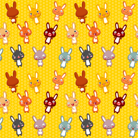 Funny Bunny | yellow fabric by irrimiri on Spoonflower - custom fabric
