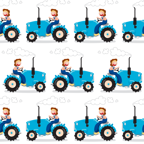 tractors fabric by verycherry on Spoonflower - custom fabric