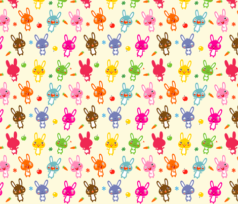 Funny Bunny | rainbow fabric by irrimiri on Spoonflower - custom fabric