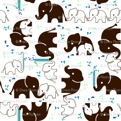 ABC Baby Coordinate - Elephant Splash, white
