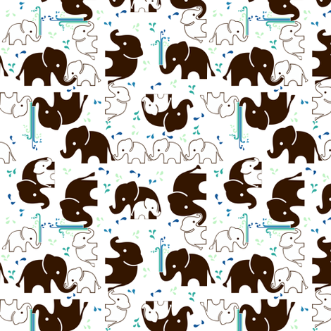 ABC Baby Coordinate - Elephant Splash, white fabric by ttoz on Spoonflower - custom fabric
