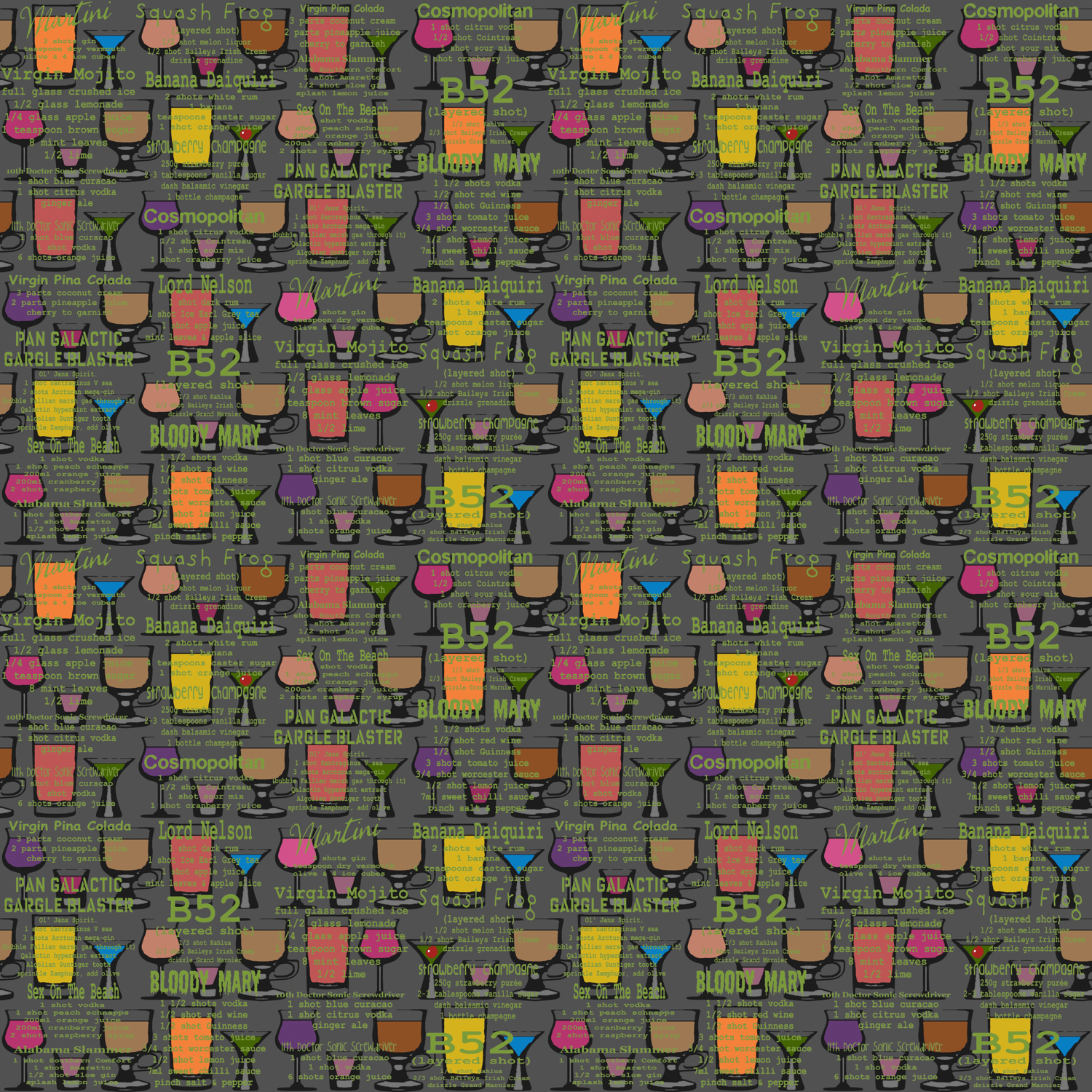 cocktails (green) fabric by scrummy on Spoonflower - custom fabric