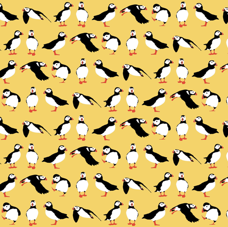 just puffins yellow small fabric by scrummy on Spoonflower - custom fabric