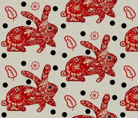 Year of the rabbit / dots fabric by paragonstudios on Spoonflower - custom fabric