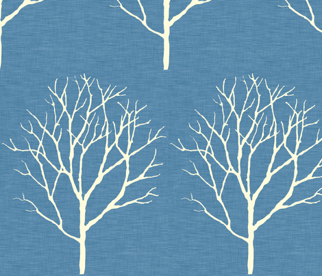tree_blue_linen fabric by holli_zollinger on Spoonflower - custom fabric