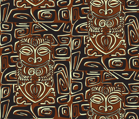Tahitian Canibal, traditional fabric by sophista-tiki on Spoonflower - custom fabric