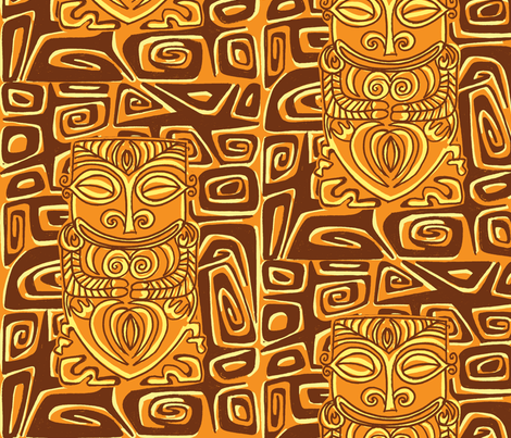 Tahitian Canibal, volcanic earth fabric by sophista-tiki on Spoonflower - custom fabric