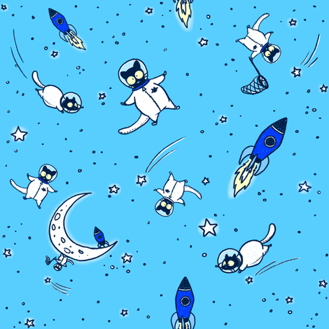 Blue Astronaut Echo fabric by celestegs on Spoonflower - custom fabric