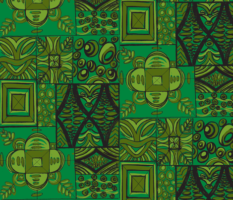 Old School ,Mana Mohala, deep jungle fabric by sophista-tiki_by_dawn_frasier on Spoonflower - custom fabric
