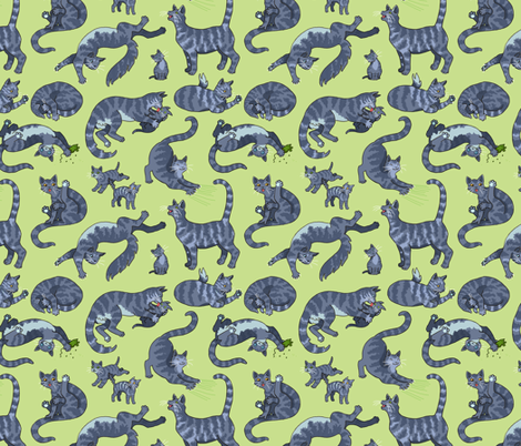 Grey Tiger Cats fabric by natashad on Spoonflower - custom fabric