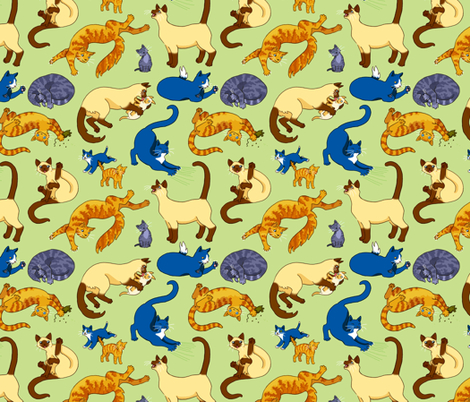 Assorted Cats fabric by natashad on Spoonflower - custom fabric