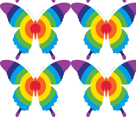 rainbow butterfly print fabric by jonathan_fae on Spoonflower - custom fabric