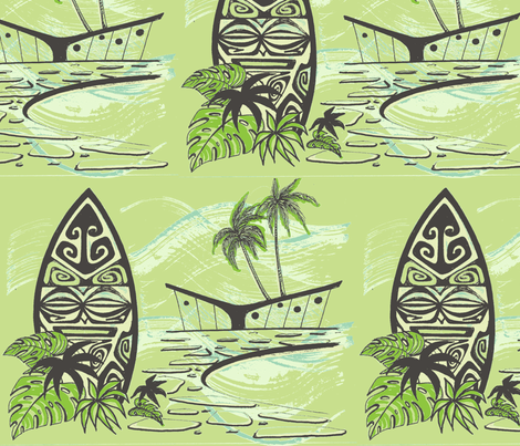 Easy Living , Shield,  fabric by sophista-tiki_by_dawn_frasier on Spoonflower - custom fabric