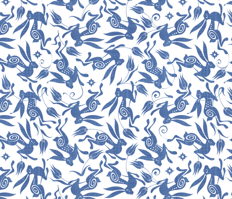 Blue Tulip fabric by spellstone on Spoonflower - custom fabric