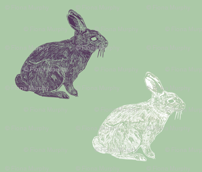 White & Purple rabbits on green