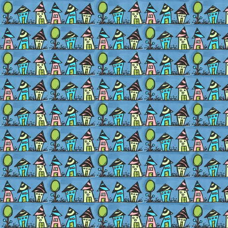 Night_huts_small fabric by orangesweater on Spoonflower - custom fabric